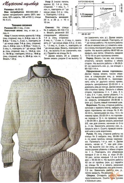 Вязание на спицах мужского джемпера модели