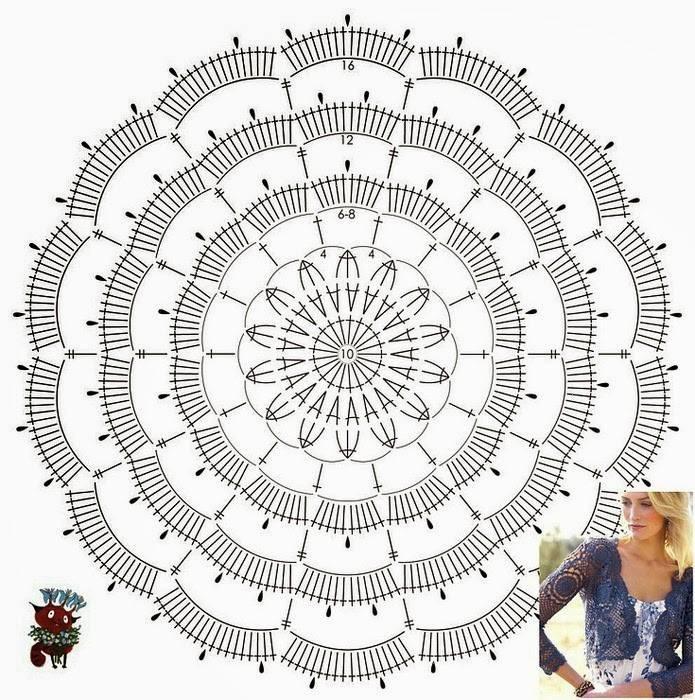 Как связать ажурный мотив круг вязание крючком для новичков со схемами 34