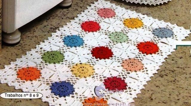 Как связать крючком коврик из квадратов
