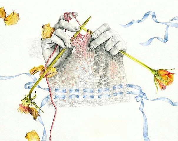 Вязание спицами иллюстрация