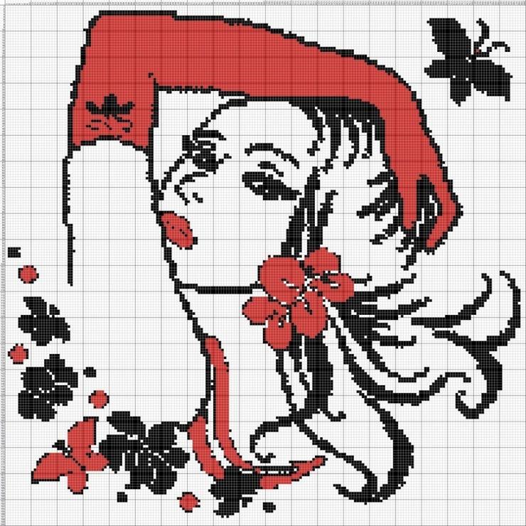 Схема вышивки крестом белое на красном