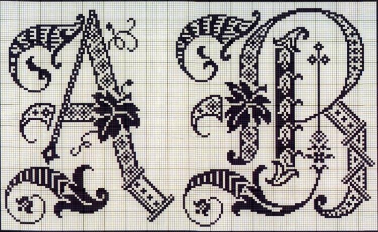 Ивритский алфавит схема вышивки 86