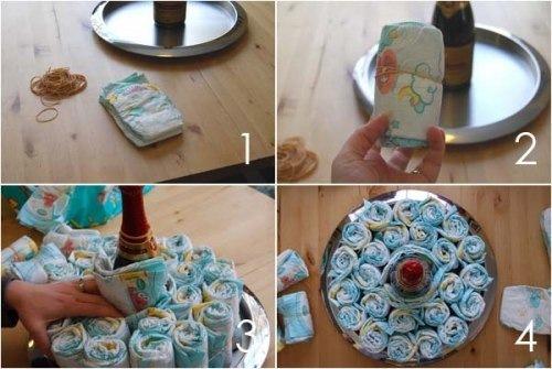 Как сделать тортик из памперсов пошагово