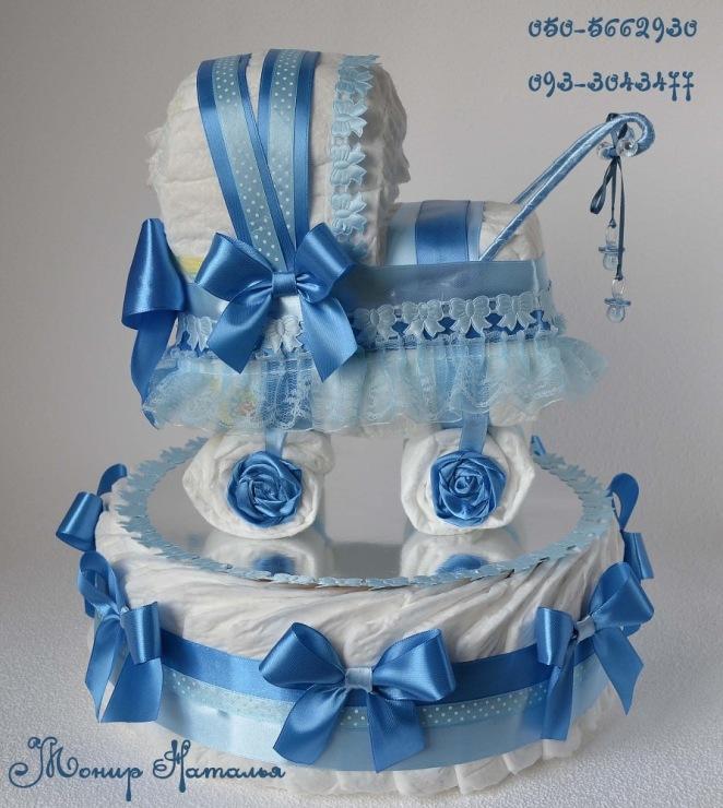 торт-коляска из памперсов фото