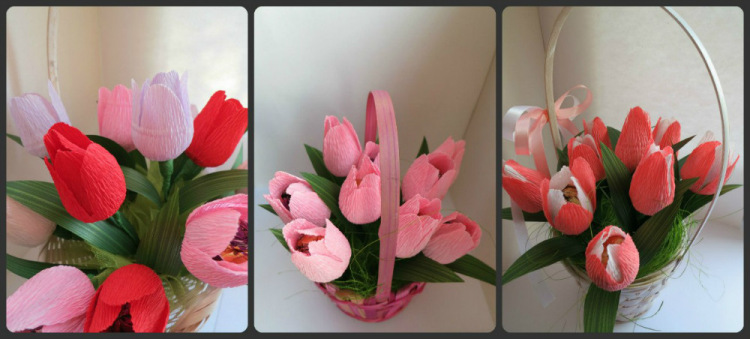 Тюльпаны с конфетами из гофрированной бумаги своими руками пошагово 54