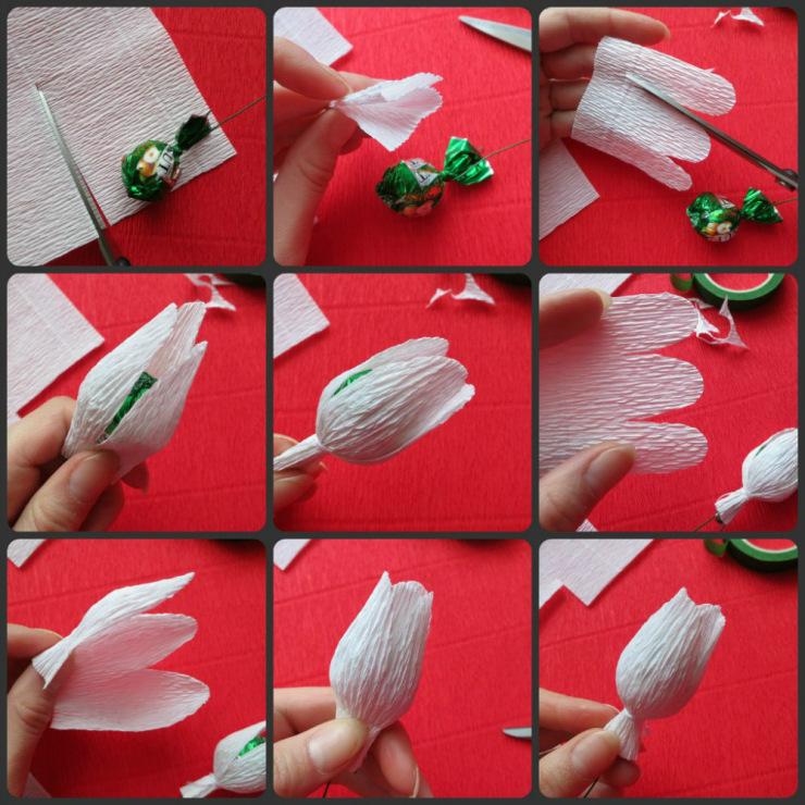 Букеты  из бумаги и конфет  мастер класс