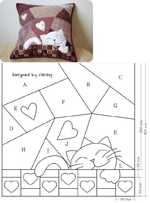 Лоскутная подушка схемы