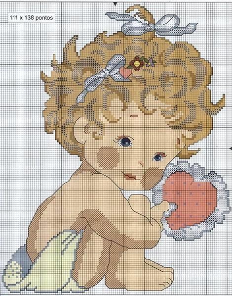 Ангелочек для вышивки схема 858