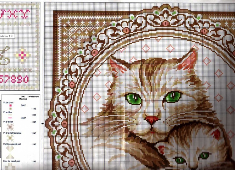 Кот на подушке схема вышивки крестом