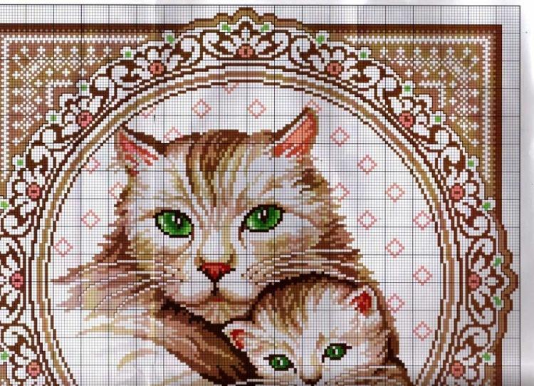 Подушка котенок схема вышивки крестом