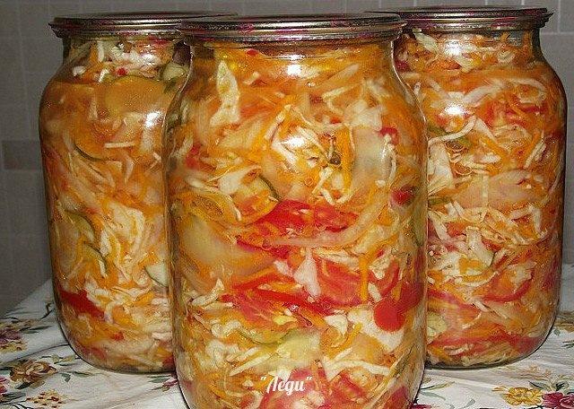 Рецепты салатов с фото на зиму с капустой