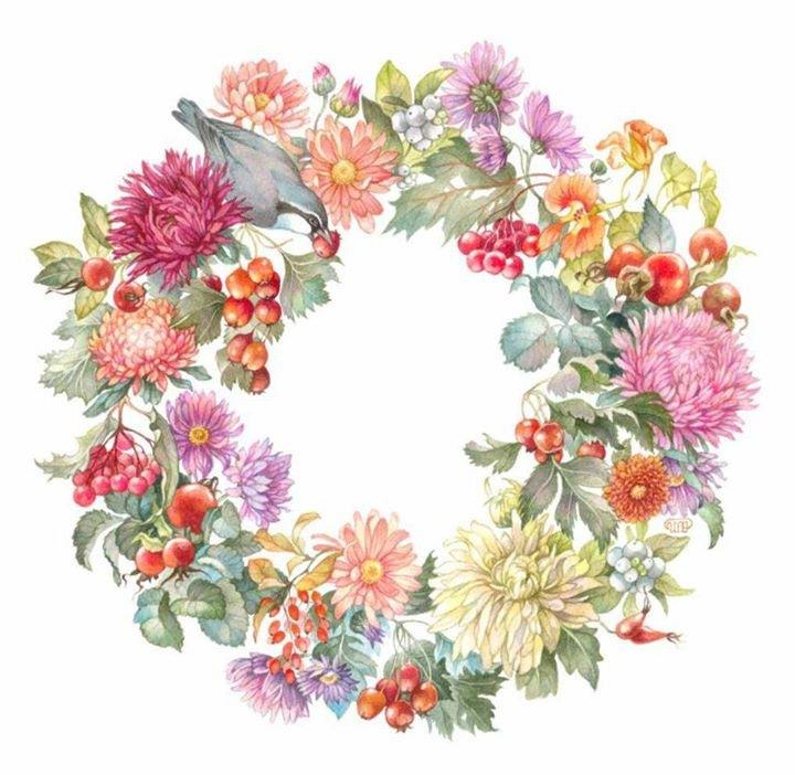 Вышивка венков из цветов 190