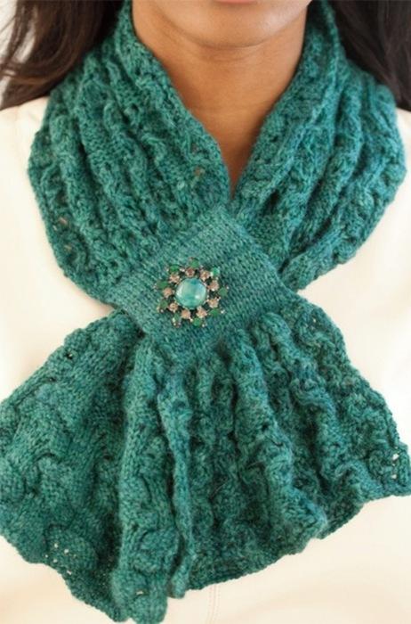 Вязание спицами шарф с