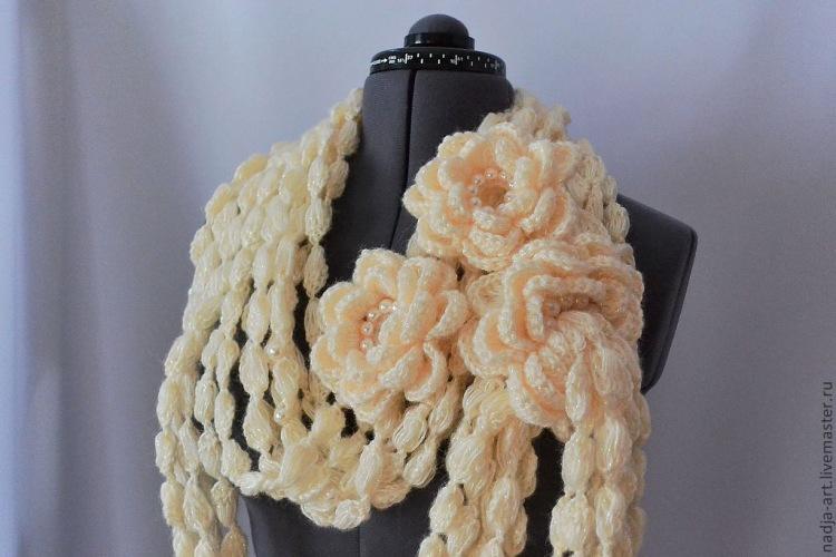 Вязание крючком красивого шарфа 32