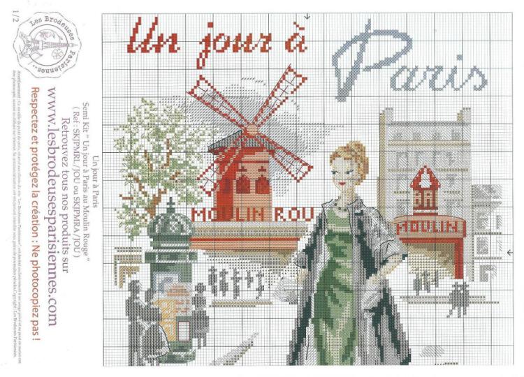 Вышивка крестом парижанки схемы 42