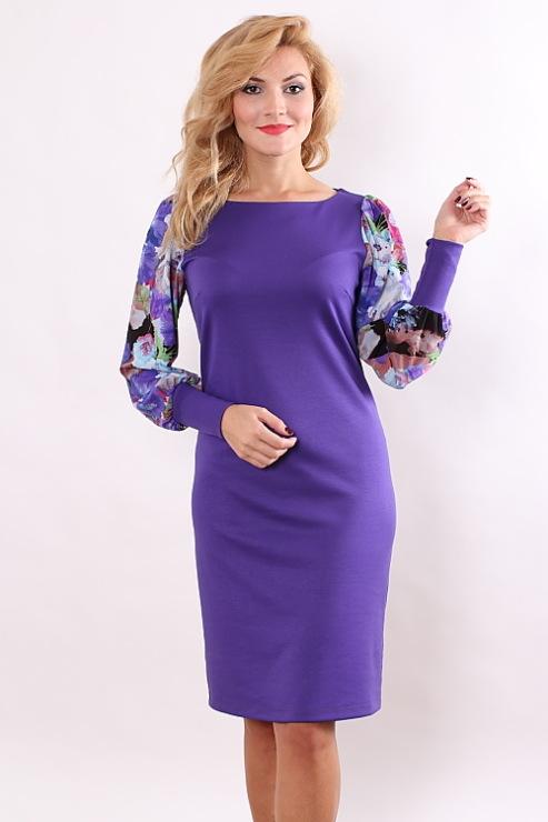 Фото платьев из трикотажа с шифоном