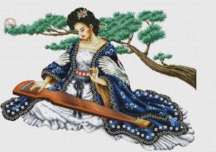 Вышивка девушка в красном кимоно 71