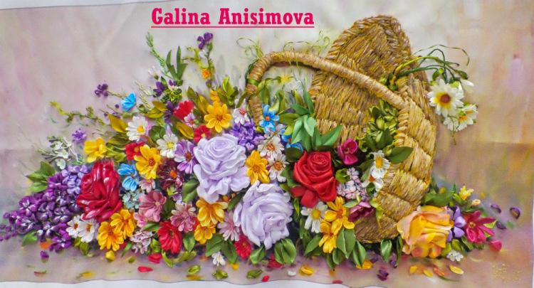 Вышивка лентами цветы в корзине фото 58