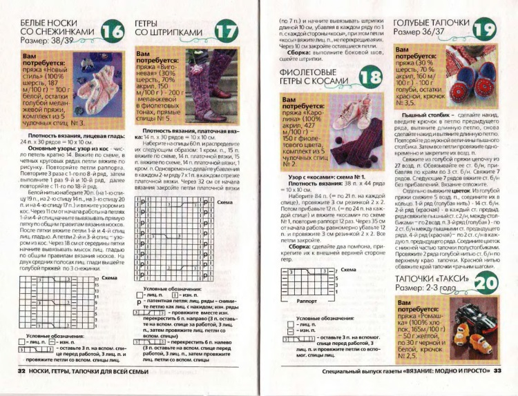 Тапочки спицами 33 схемы вязания бесплатно 13